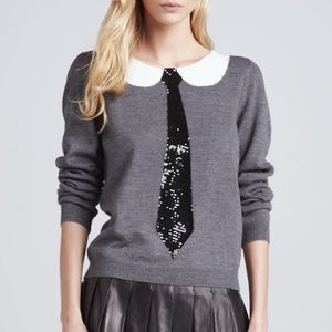 Alice Olivia gray tie sequin sweater/jumper